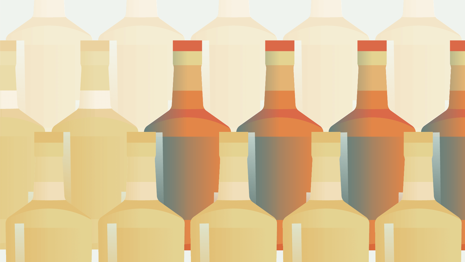 Illustration showing multiple alcohol bottles arranged in three rows